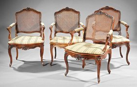 French Provincial Carved Walnut Fauteuils