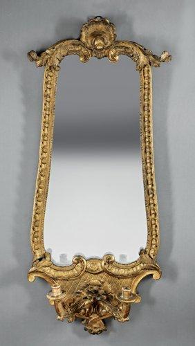 Pair Ofitalian Carved Giltwood Girandole Mirrors