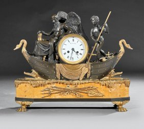 Napoleon Iii Gilt, Patinated Bronze Mantel Clock