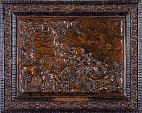 Four French Copper Repousse Plaques