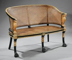 Verde Antico And Parcel-gilt Caned Settees