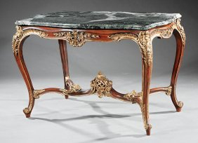 Louis Xv-style Painted, Parcel Gilt Center Table