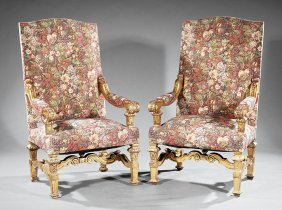Pair Of Louis Xiv-style Carved Giltwood Chairs