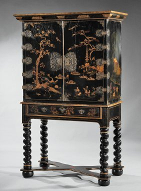Japanned And Parcel Gilt Cabinet On Stand