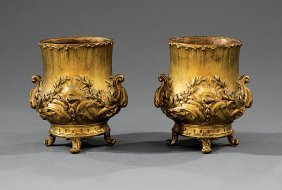 Pair Of Continental Gilt Bronze Footed Urns