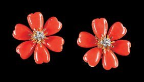 Yellow Gold, Coral And Diamond Floriform Earrings