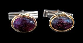 Yellow Gold And Garnet Serpent Cufflinks