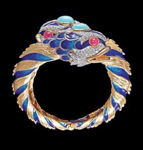 Gold, Enamel And Gemstone Dolphin Bangle Bracelet