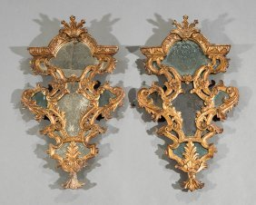 Regence-style Carved Giltwood Mirrors