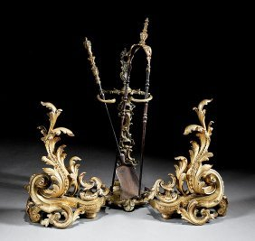 Rococo-style Gilt Bronze Fireplace Garniture