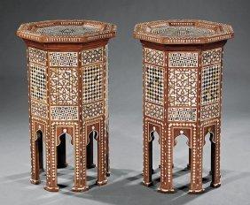 Moorish Bone & Mother-of-pearl Inlaid Side Tables