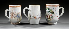 Chinese Export Famille Rose Porcelain Shaped Mugs