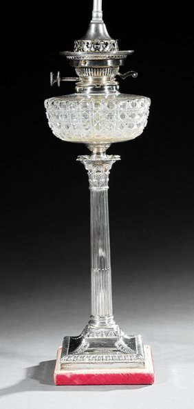 English Sterling Silver, Cut Glass Banquet Lamp
