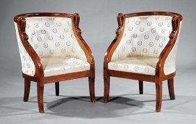 Pair Of Louis Philippe Mahogany Bergeres