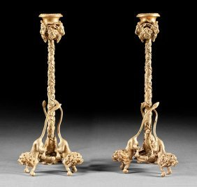 Pair Of Regency-style Gilt Bronze Candlesticks