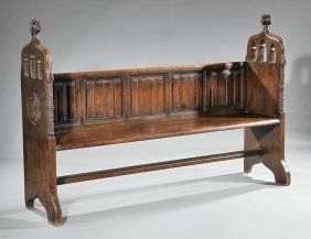 English Renaissance-style Carved Oak Hall Bench
