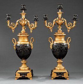 Pair Of Louis Xv-style Gilt And Patinated Bronze