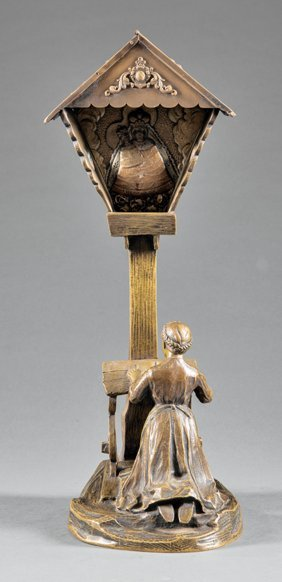 """Painted Bronze Figural Table Lamp, """"titze"""""""
