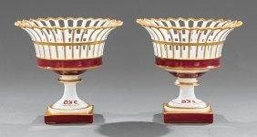 Pair Of Paris Porcelain Reticulated Corbeilles