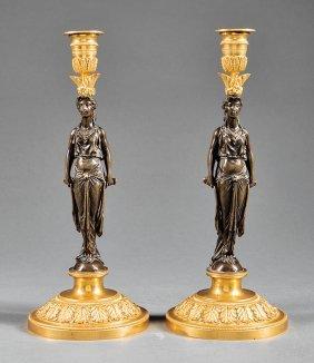 Empire-style Gilt & Patinated Bronze Candlesticks