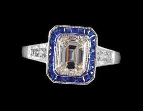 Platinum, Diamond And Sapphire Ring