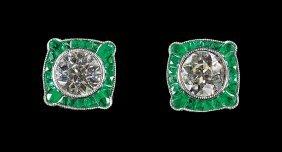 Pair Of Platinum, Diamond And Emerald Earstuds