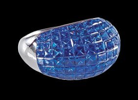 18 Kt. White Gold And Sapphire Dome Ring