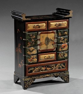 Japanese Polychrome Decorated Lacquer Cabinet