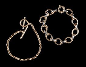 Two 14 Kt. Yellow Gold Flexible Bracelets