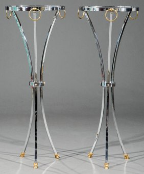 Pair Of Directoire-style Chrome Torchres