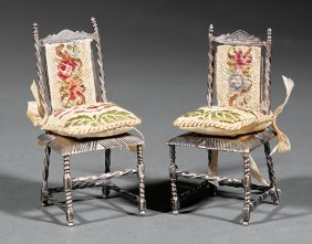 Pair Of Continental Silver Miniature Chairs
