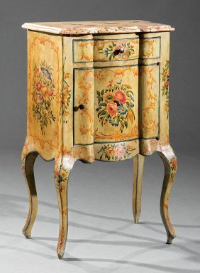 Rococo-style Paint-decorated Petite Commode