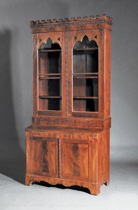 American Gothic Mahogany Secretary/bookcase