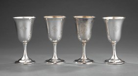 Four American Sterling Silver Goblets