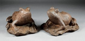 Pair Offrench Cast Iron Garden Frogs