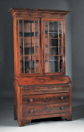 Late Classical Mahogany Secretary Bookcase