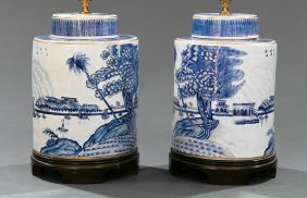 Chinese Blue And White Porcelain Tea Canisters
