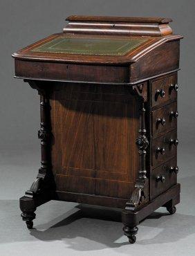 English Carved And Inlaid Walnut Davenport Desk