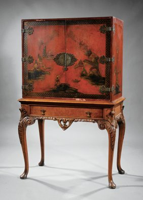 Georgian-style Japanned Cabinet-on-stand