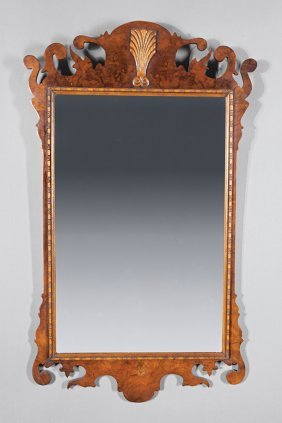 Georgian-style Burl Walnut Looking Glass