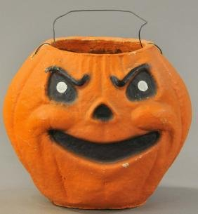LARGE PULP JACK-O-LANTERN WITH PAINTED ON FACE