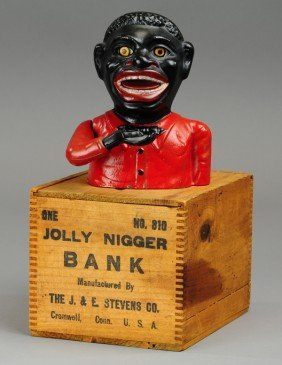 JOLLY 'N MECHANICAL BANK - BLUE BOW TIE