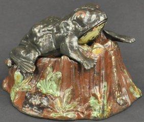 Toad On Stump Mechanical Bank