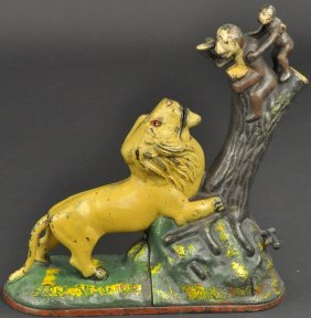 Lion And Two Monkeys Mechanical Bank