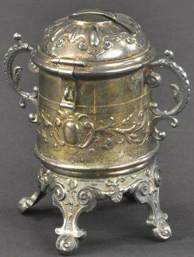 Footed Urn Silvered Still Bank