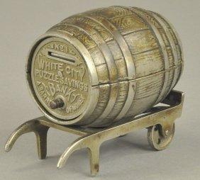 White City Barrel On Cart Still Bank