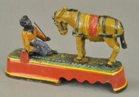 Spise A Mule Bank, Boy On Bench Mechanical Bank