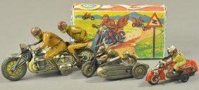Lot Of Three Tin Motorcycles