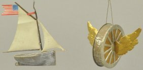 Silver Dresden Sailboat & Winged Wheel