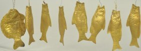 Large Assortment Of Gold Dresden Fish